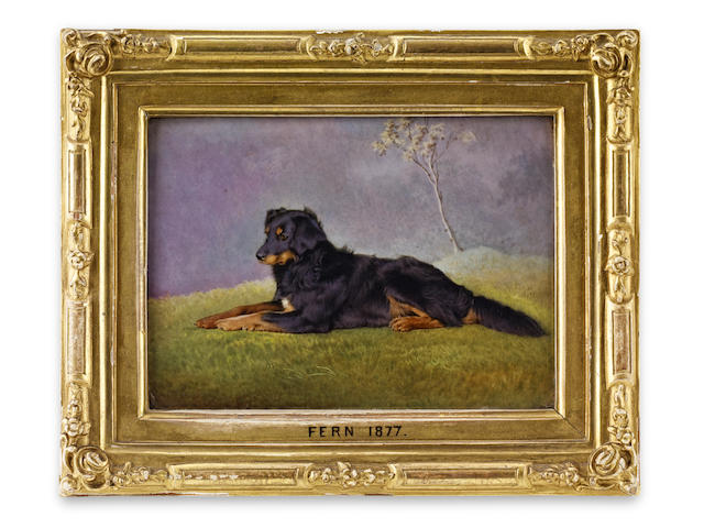 Of Royal Interest: A Berlin (KPM) painted porcelain plaque of Queen Victoria's dog Fern