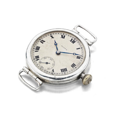 An early 20th century silver cased manual wind wristwatch by Rolex with Reeberg movement, together with notes relating to the architect, Alexander Cattanach, with Glasgow import mark for 1923