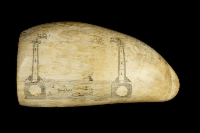 large & Well Scrimshawed Whales Tooth - Whaling ship, long boats, towes with flag
