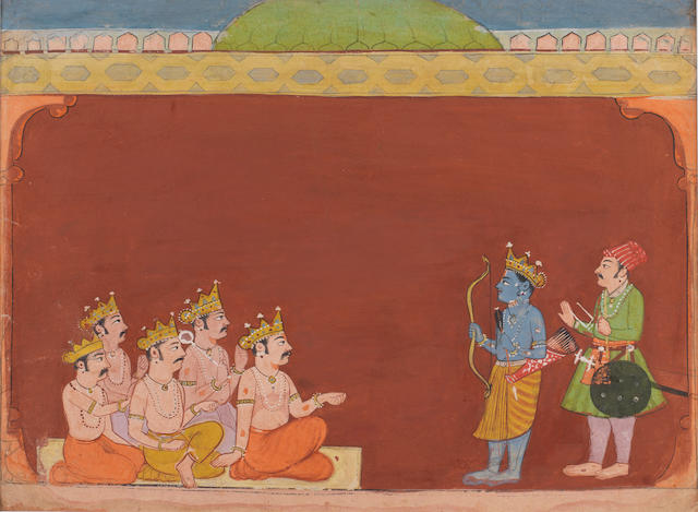 A blue-skinned Hindu deity holding a bow accompanied by an attendant and  received by five kings, possibly the five Pandava brothers Bilaspur, circa 1670-80