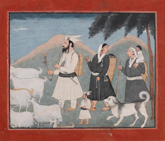 A Gaddi family treking in the Himalayas with a herd of goats Kangra, possibly by Huzuri of Ustehar, late 19th Century