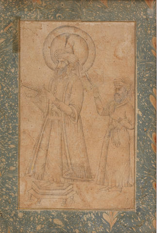 A ruler standing on a dais holding a book, an attendant standing to the right holding a banner Provincial Mughal, perhaps Deccan, first half of the 18th century