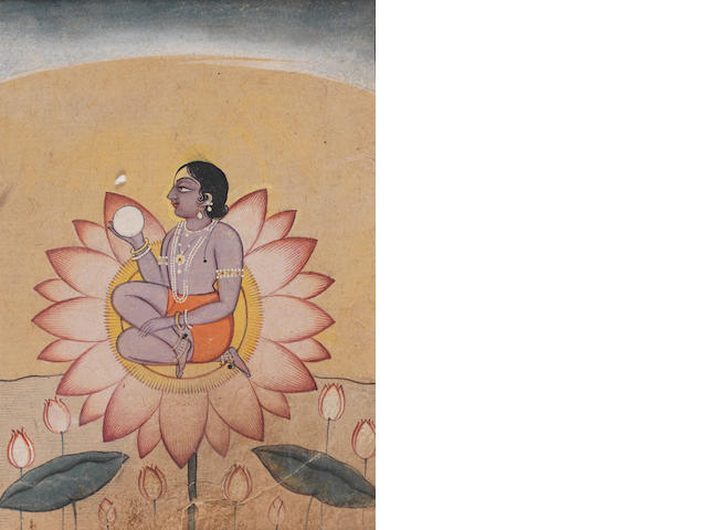 Deity on a lotus leaf Kangra
