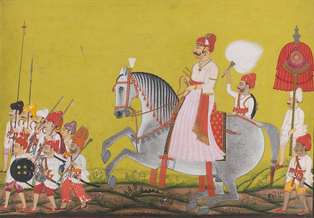 A prince on horseback with attendants Indore