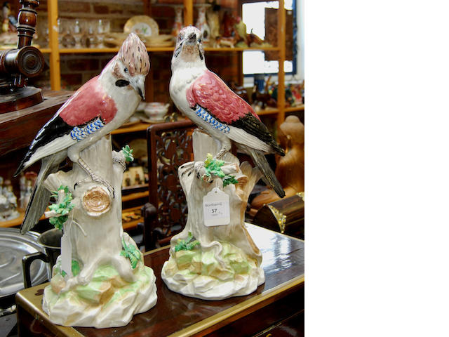 A pair of Dresden porcelain figures of jays