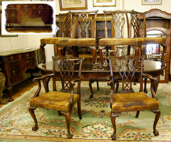 A mahogany dining room suite, in George III style