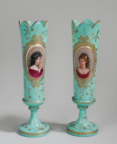 A pair of Bohemian green glass vases late 19th Century