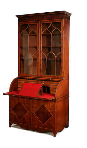 A George III mahogany and satinwood banded cylinder bureau bookcase