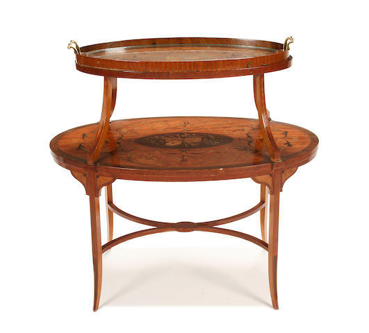 An Edwardian mahogany, satinwood and marquetry étagère
