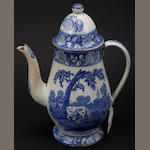 An early 19th Century Staffordshire Pearlware blue and white coffee pot and cover,