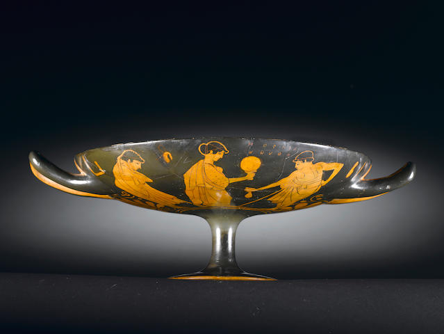 An Attic Kylix by the group of the Penthesilea Painter