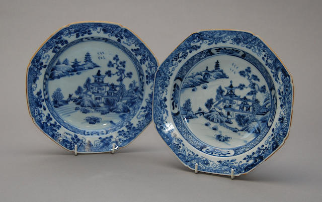 Two Chinese blue and white octagonal plates