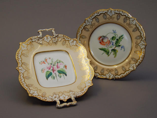 An English porcelain part dessert service