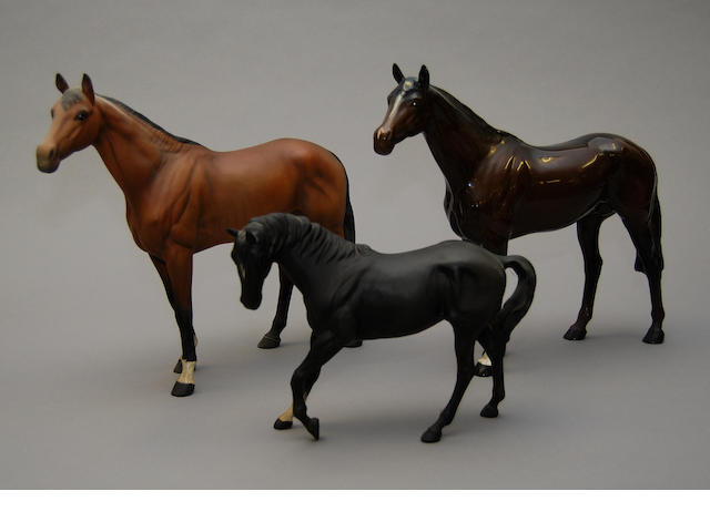A small collection of Beswick horse figures