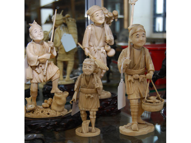 Four Japanese sectional ivory figures