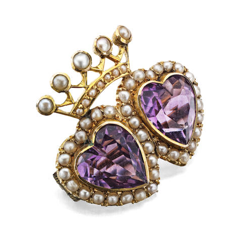 A late Victorian amethyst and seed pearl brooch