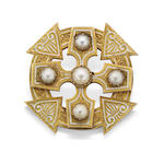 A 19th century Scottish pearl and enamel brooch