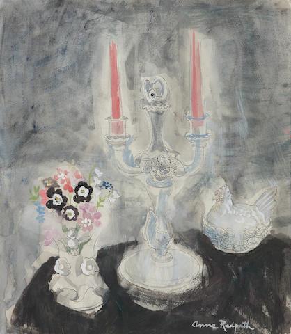 Anne Redpath, OBE RSA ARA LLD ARWS ROI RBA (British, 1895-1965) Posy and silver candlestick