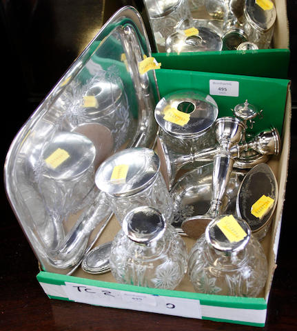 A ten piece silver and cut glass dressing table set,  (10)