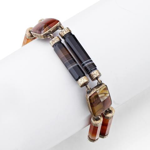 A Victorian Scottish pebble bracelet