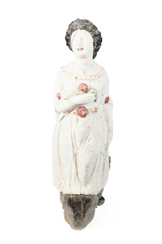 'Sadie' A 19th carved wooden figurehead c.1867from the shipwrecked brig 'Lily',