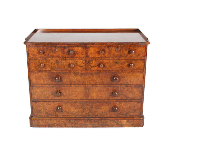 An early/mid-Victorian burr walnut chest