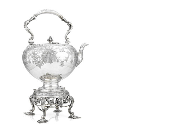 A Victorian tea kettle and stand By John McKay, Edinburgh 1852