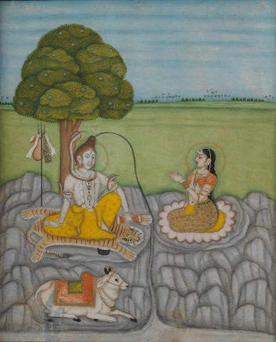 Siva, Parvati and Nandi seated beneath a tree in an extensive landscape Murshidabad, third quarter of the 18th Century