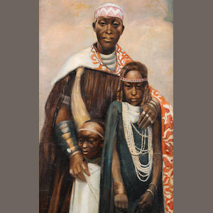 Rene Lesuisse (Belgian, 1901-1966) Portrait of the last King of Burundi, Mwambutsa