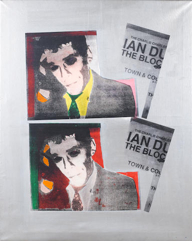 Alain Rodier (French, born 1962) Portrait of Ian Dury Screenprint with acrylic paint on canvas, together with an abstract screenprint with Russian text by the same hand, signed and dated 1990 in dark paint on the reverse