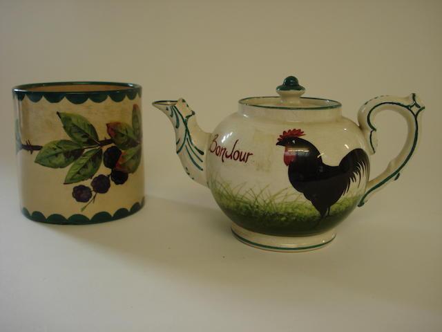 A Wemyss Bon Jour teapot 'Black Cockerels'