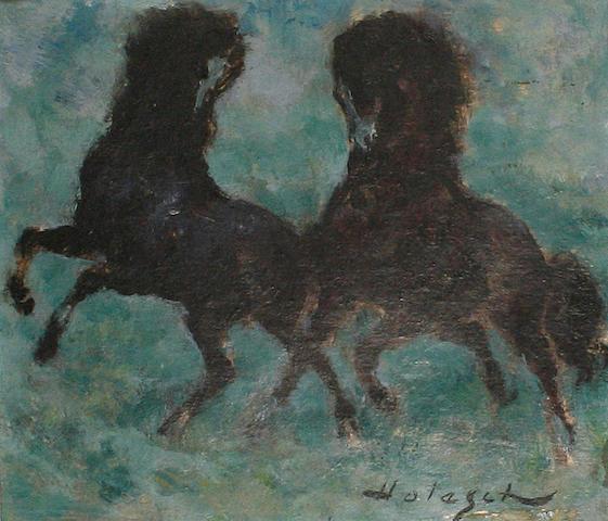 Denes De Holesch (American, born 1910) Two horses.