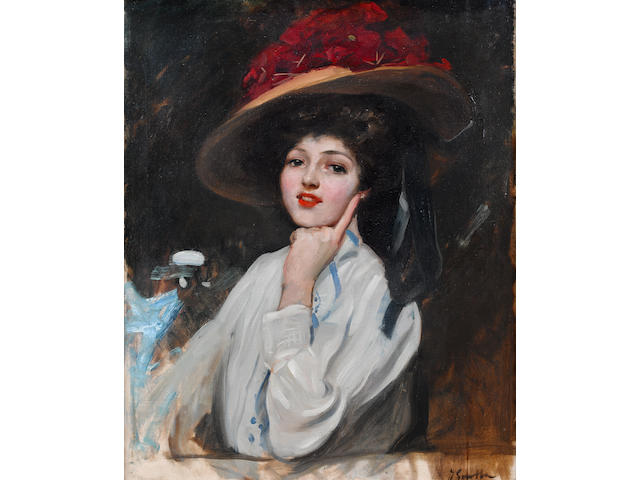 Joaquin Sorolla y Bastida (Spanish, 1863-1923) Portrait of a young lady in a hat, believed to be Raquel Meller - 'La bella Raquel'