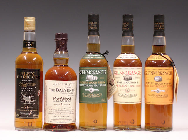 Glen Garioch-21 year old-1970  The Balvenie Port Wood-21 year old  Glenmorangie  Glenmorangie  Glenmorangie