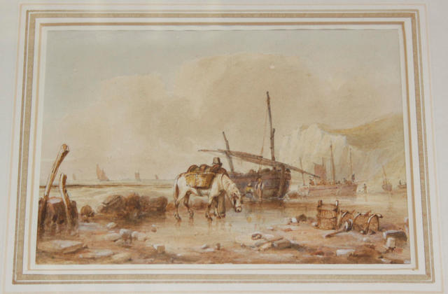 Attributed to Edward William Cooke, RA (British, 1811-1880) Coastal scene with figures and a pony