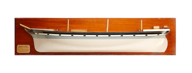 A late 19th century half-hull model of the 'Mary Low' 32cm high x 148.5cm wide x 11cm deep