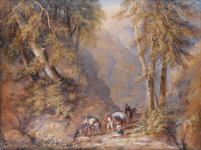 David Cox Snr., O.W.S. (British, 1783-1859) A mountain pass - Brigands refreshing