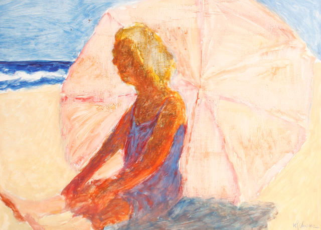 Hans Schwarz (British, 1922-2003) Woman on a beach. unframed