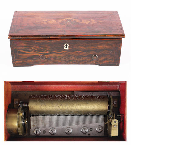 Simulated rosewood & inlaid music box