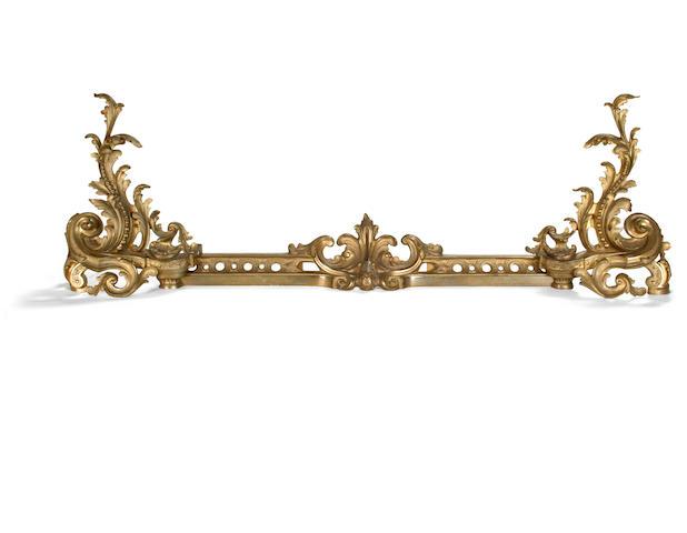 A 19th century Rococo style gilt bronze fender