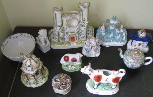 A pearlware model of a sheep and lamb, damages, five various Staffordshire houses, a cow creamer, Newhall slop bowl, bears grease painted part lid and base, Canton famille teapot, blanc de chine dog of fo and a Chinese pot and cover (a/f).