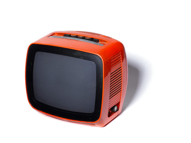 A JVC Indesit black and white TV, circa 1970 orange casing