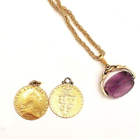 George III: Two spade type guineas, 1787 and 1798, on soldered pendant fittings, together with an 18ct woven-link chain necklace and bracelet and an 18ct gold mounted amethyst swivel fob seal.