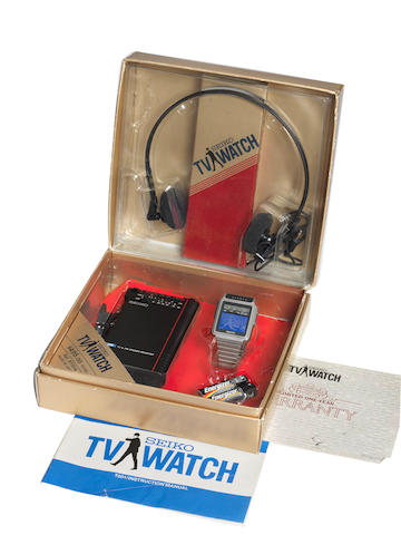 A rare first production television wristwatch, by Seiko, 1983,