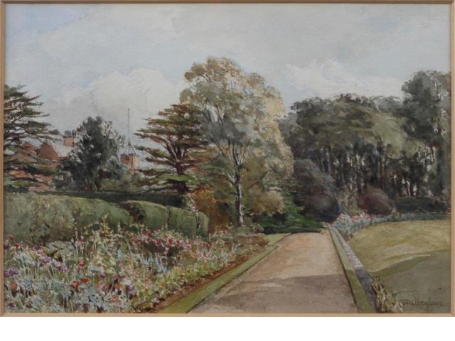 John Fulleylove (British, 1845-1908) A garden border