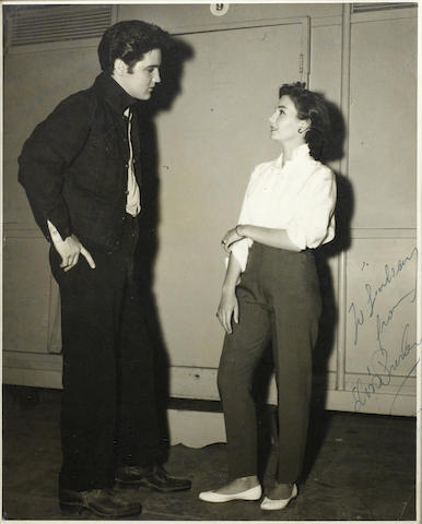 A unique autographed photograph of Elvis Presley and Jean Simmons,