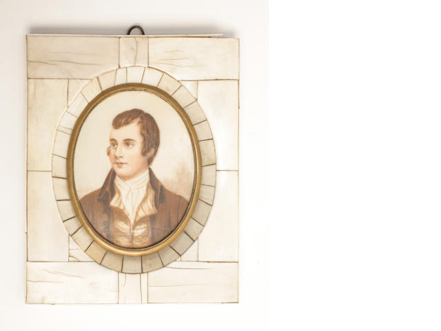 An oval bust length portrait miniature of Robert Burns