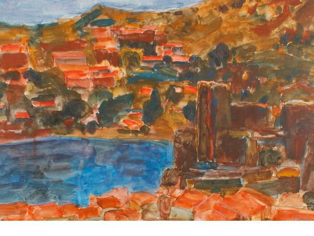 Hans Schwarz (British, 1922-2003) Collioure castle.