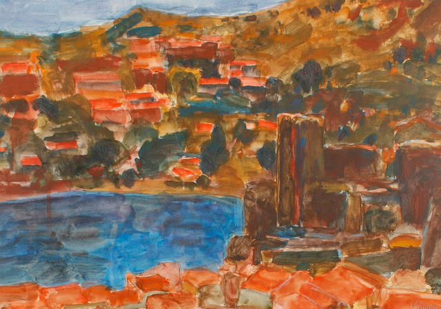 Hans Schwarz (British, 1922-2003) Collioure castle.
