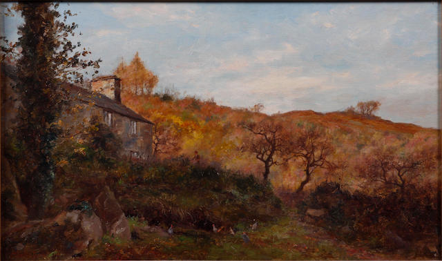 Josiah Clinton Jones (British, 1848-1936) Sunlit autumnal landscape